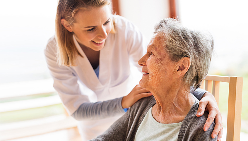 Home health visiting patient.