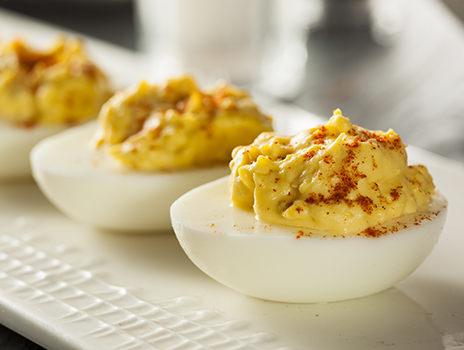 Tray of deviled eggs.