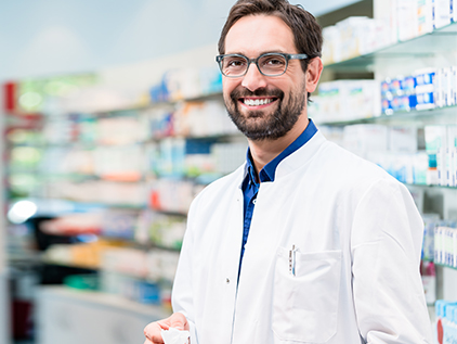 Smiling pharmacist.
