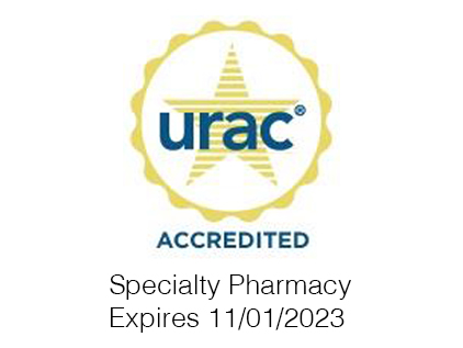 URAC logo. URAC is an independent, nonprofit accreditation entity. The University of Kansas Health System's specialty pharmacies are URAC accredited.